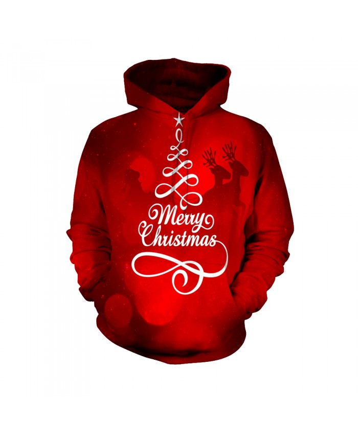 Fashion Christmas Hoodie Sweatshirt Winter Warm Female Christmas Funny Red Casual 3D Casual Hoodie Clothing