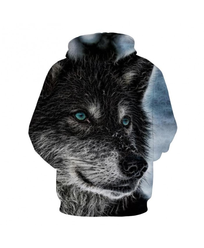 Fashion Cool Black wolf Hoodies Men Women Thin 3D Sweatshirts with