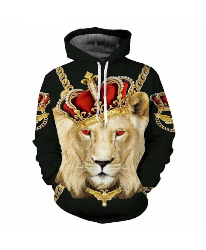 Fashion Crown Lion Hooded Sweatshirt Casual Hoodie Autumn Tracksuit Pullover Hooded Sweatshirt