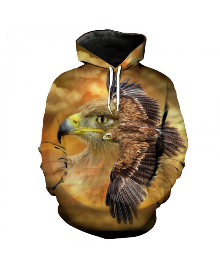 Fashion Eagle Print Men's Hooded Sportswear Men's Pullover Casual Hoodie Autumn Tracksuit Pullover Hooded Sweatshirt