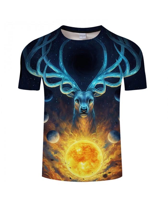 Fashion Elk Print T shirt Men Brand Design Women Animal 3D t shirt Summer Casual tshirts Tops&Tees Drop Ship Hot