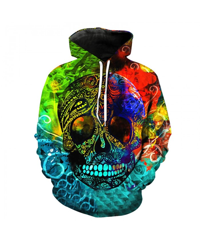 Fashion Flowers Hoodie Rainbow Skull Neutral Hooded Sweatshirt Pullover Tracksuit Pullover Hooded Sweatshirt