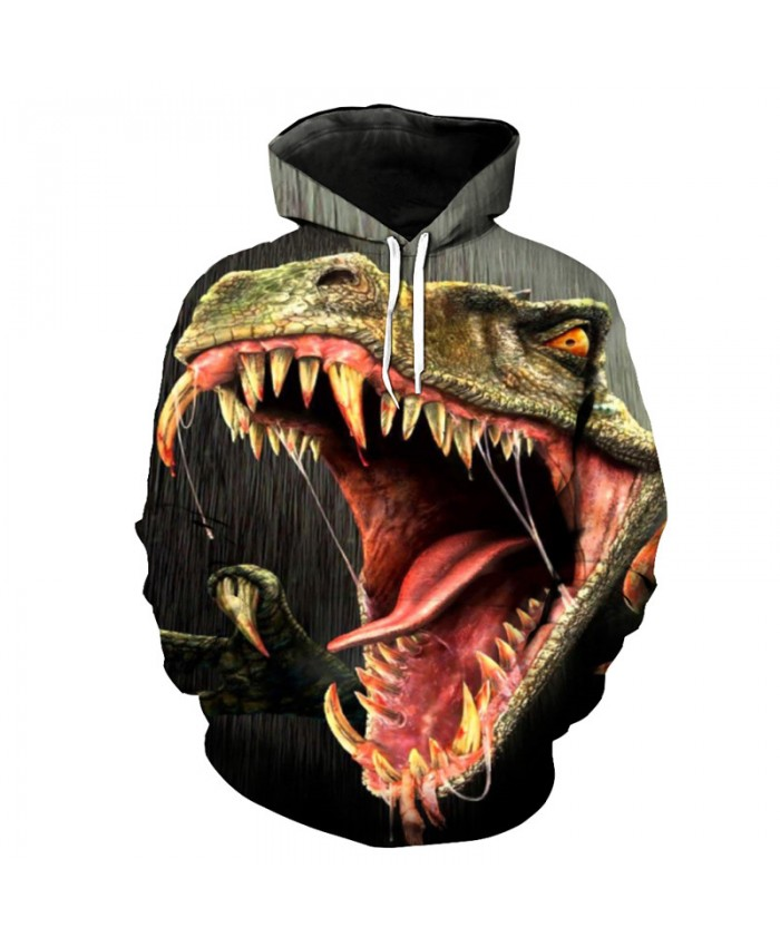 Fashion Funny Horror Big Mouth Dinosaur Print Sportswear Men Women Street Hooded Sweatshirt