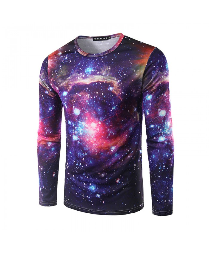 Fashion Galaxy Tshirts space Tops Men 3D T-shirts Long Sleeve Cool Tees Funny Printed Round Neck Trend Tees