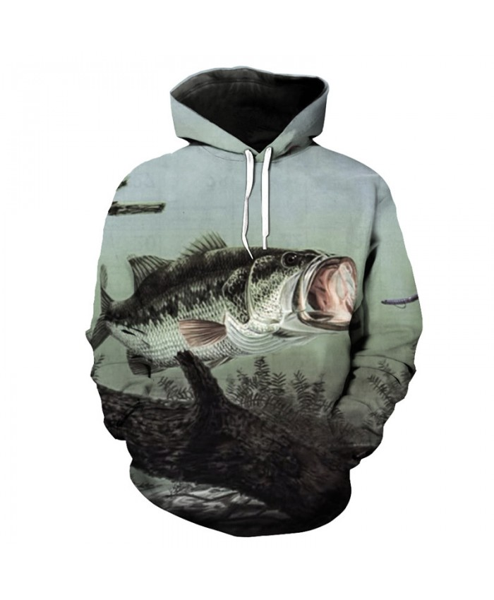 Fashion Gray Hooded Sweatshirt Mouth Fish Print Funny Tracksuit Pullover Men Women Casual Pullover Sportswear