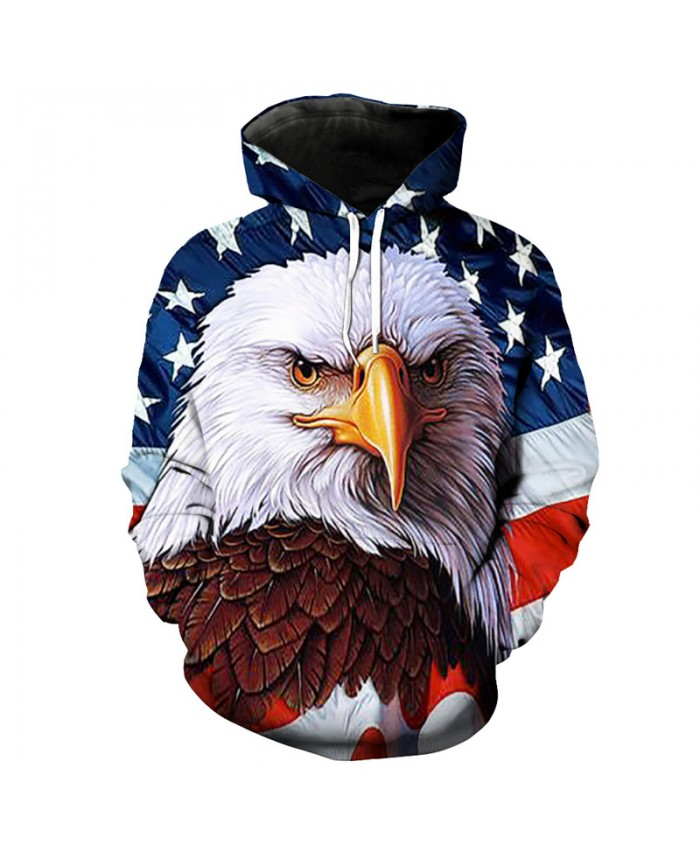 Fashion Hooded Sweatshirt Oil Painting Eagle Print Sportswear Pullover Casual Hoodie Autumn Tracksuit Pullover Hooded Sweatshirt
