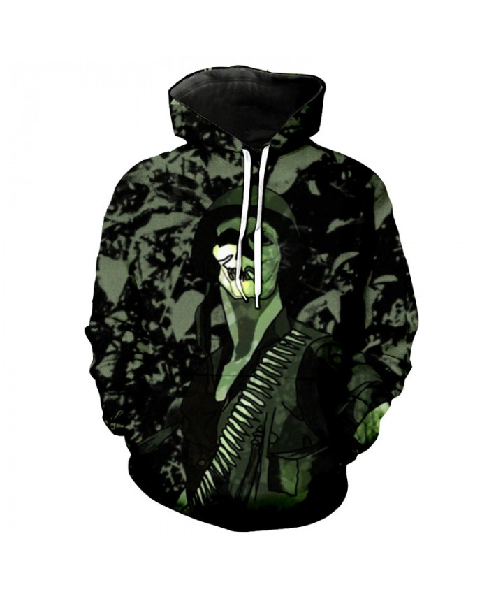 Fashion Hoodies Camouflage Skull American Soldier Print Neutral Hooded Pullover Sweatshirt