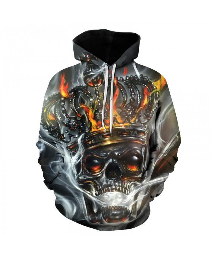 Fashion Hoodies Metal crown Hooded Men/Women Hat hoody 3d Sweatshirts skull Print Thin Autumn winter Sweatshirts Hip hop tops