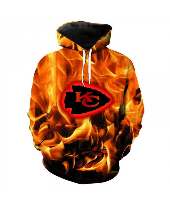 NFL Fashion Kansas City Chiefs 3d Flame Hoodie Cool hip hop streetwear sweatshirt