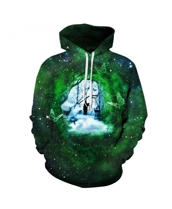 Fashion Men Women Hooded Sweatshirt Time and Space Gate Green Galaxy Butterfly Print Men Women Sportwear