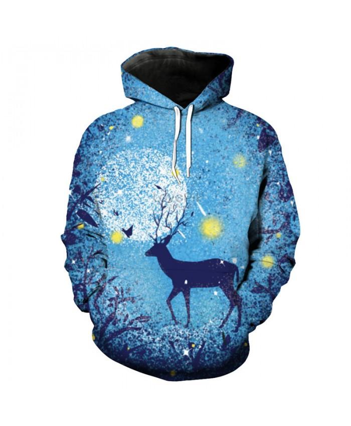 Fashion Men Women Hoodie 3D Doodle Deer Print Sweatshirt