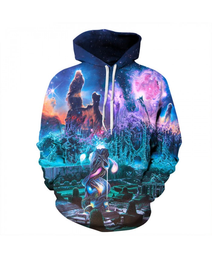 Fashion Men Women Hoodies Dream Galaxy City Castle Printing Hooded Sweatshirt Women Men Sportwear