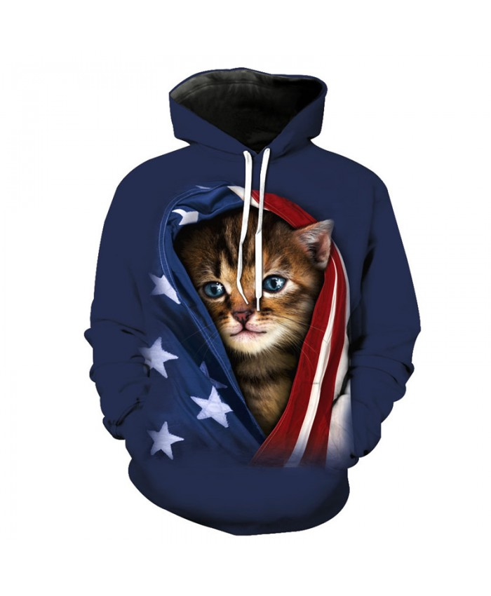 Fashion Pocket Cat Prints Personalized 3D Hooded Sweatshirt Casual Hoodie Autumn Tracksuit Pullover Hooded Sweatshirt