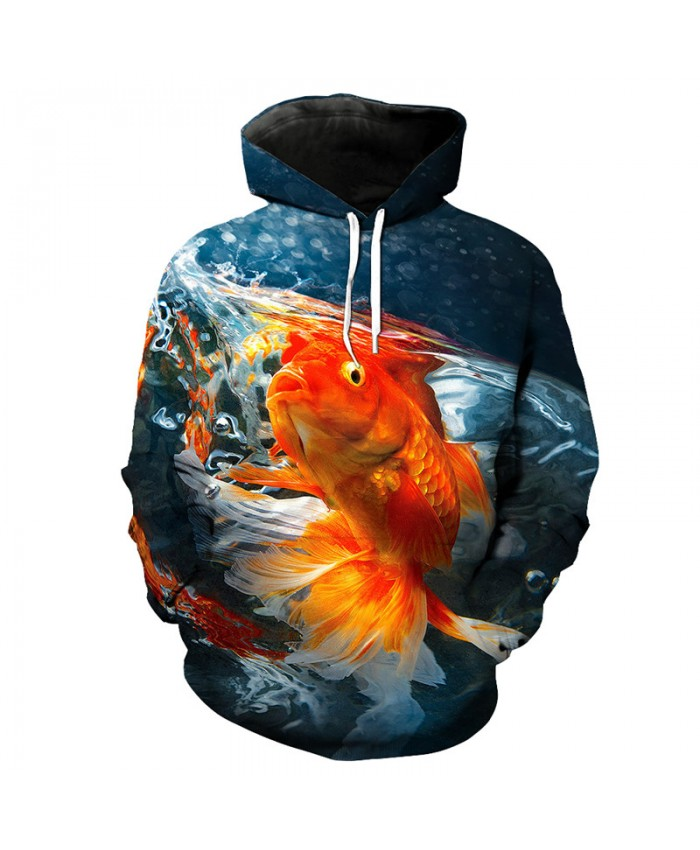 Fashion Pullover 3D Goldfish Print Fun Hoodie Sweatshirt Men Women Casual Pullover Sportswear