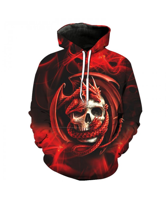 Fashion Red Hooded Dragon Skull Printed Hip-hop Street Clothing Pullover Tracksuit Pullover Hooded Sweatshirt