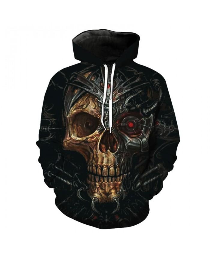 Fashion Skull Hoodie Red-eye Mechanical Skull Fashion Hooded Sweatshirt Street Pullover Tracksuit Pullover Hooded Sweatshirt