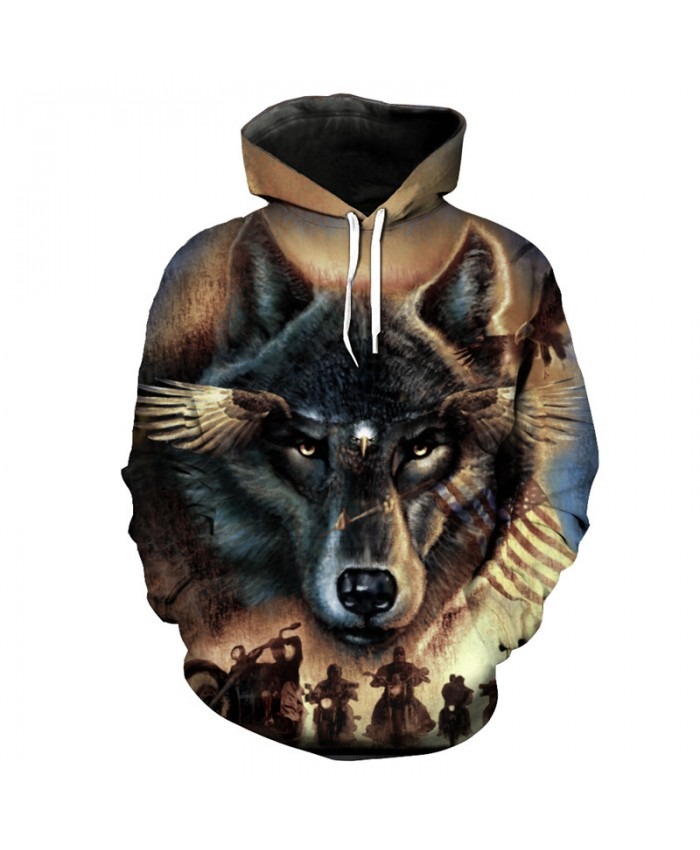 Fashion Street Hooded Sweatshirt Wolf Eagle Motorcycle Print Cool Sportswear Men Women Casual Pullover Sportswear