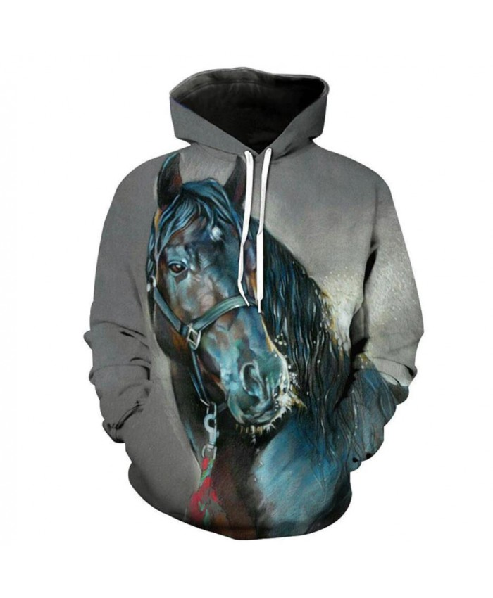 Fashion Sweatshirt Men Women 3d Hoodies Print Horse Animal Pattern Unisex Outerwear Hooded Spring Hoodies A