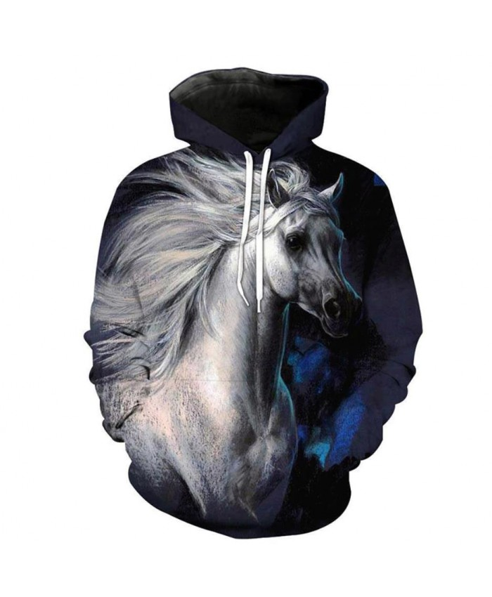 Fashion Sweatshirt Men Women 3d Hoodies Print Horse Animal Pattern Unisex Outerwear Hooded Spring Hoodies E