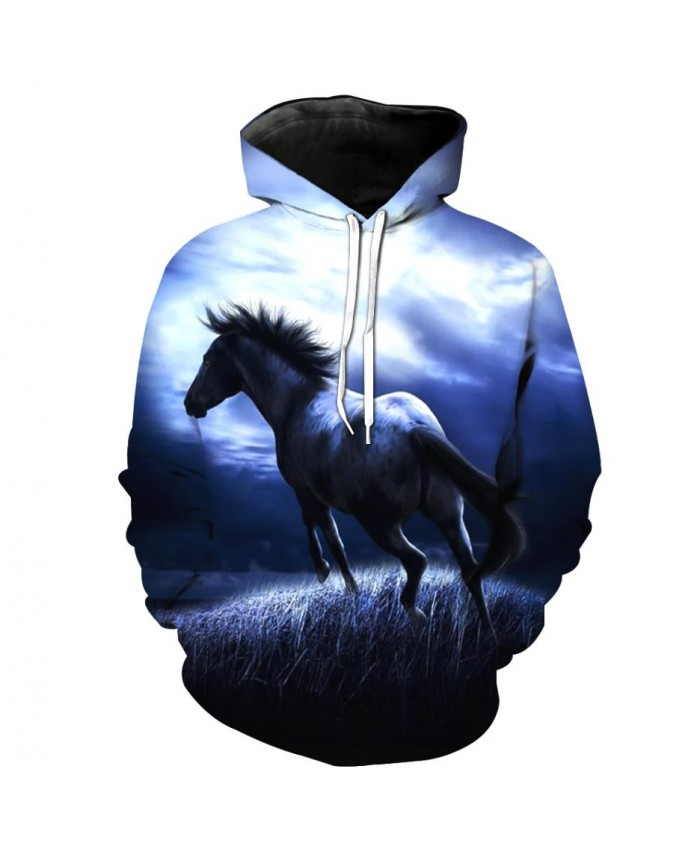 Fashion Sweatshirt Men Women 3d Hoodies Print Horse Animal Pattern Unisex Outerwear Hooded Spring Hoodies L