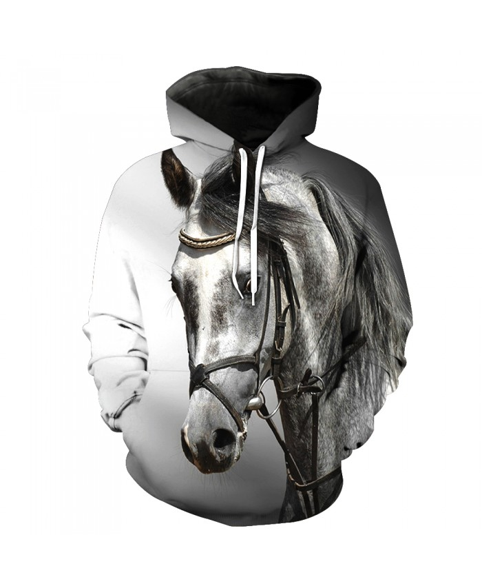 Fashion Sweatshirt Men Women 3d Hoodies Print Horse Animal Pattern Unisex Outerwear Hooded Spring Hoodies M