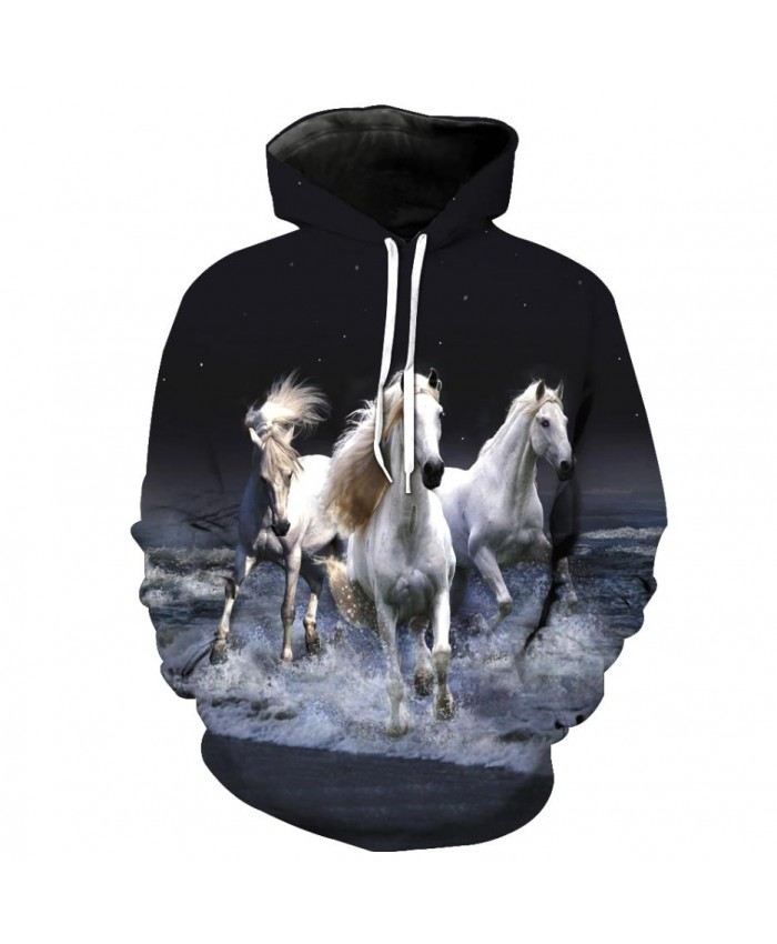 Fashion Sweatshirt Men Women 3d Hoodies Print Horse Animal Pattern Unisex Outerwear Hooded Spring Hoodies N