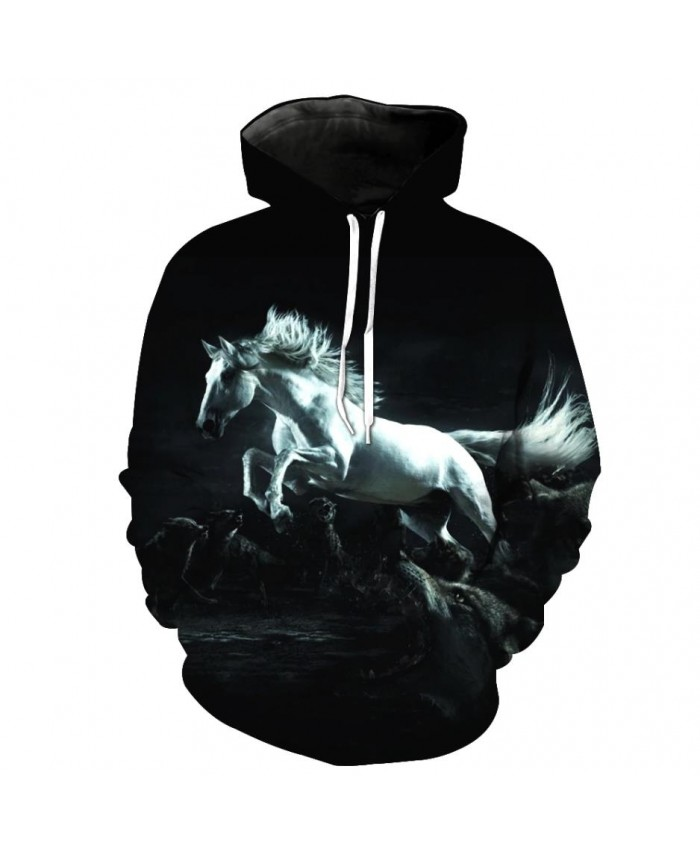 Fashion Sweatshirt Men Women 3d Hoodies Print Horse Animal Pattern Unisex Outerwear Hooded Spring Hoodies O