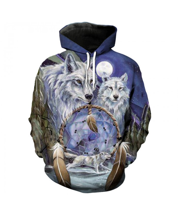 Fashion Wolf Hoodie Purple Star Feather Wolf Print Cool 3D Hooded Pullover Sportswear Men Women Casual Pullover Sportswear