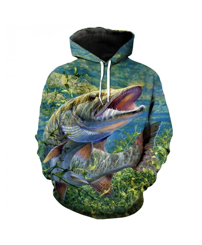 Fashion fish series hooded sweatshirt casual 3D pullover Men Women Casual Pullover Sportswear