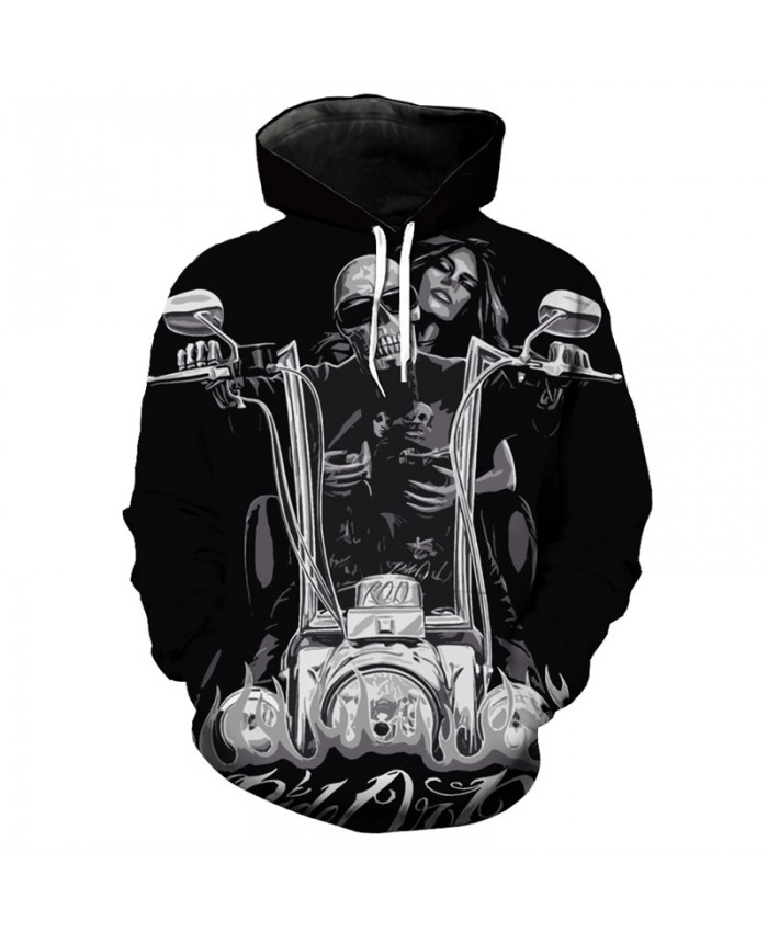 Fashion hooded sweatshirt motorcycle beauty skull print cool black hoodie Tracksuit Pullover Hooded Sweatshirt