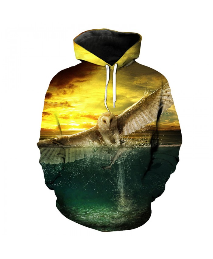 Fashion hoodie fish eagle catch fish print cool hooded pullover streetwear Men Women Casual Pullover Sportswear