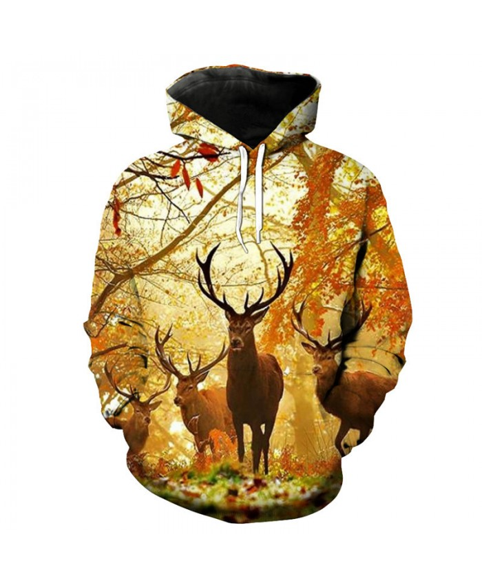 Fashion orange hoodie forest deer print 3D hooded pullover Sweatshirt Women Men Sportwear