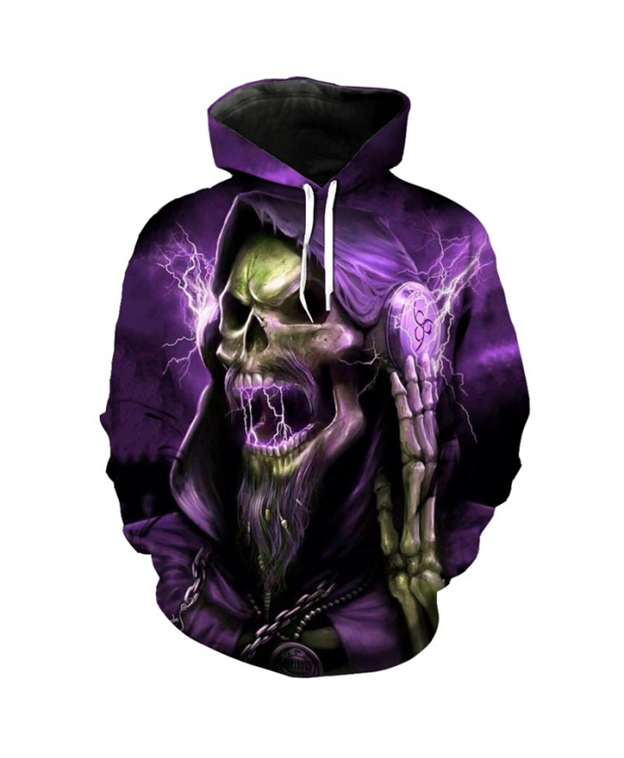 Fashion purple hoodie cool music DJ skull print hip hop streetwear hooded pullover Tracksuit Pullover Hooded Sweatshirt
