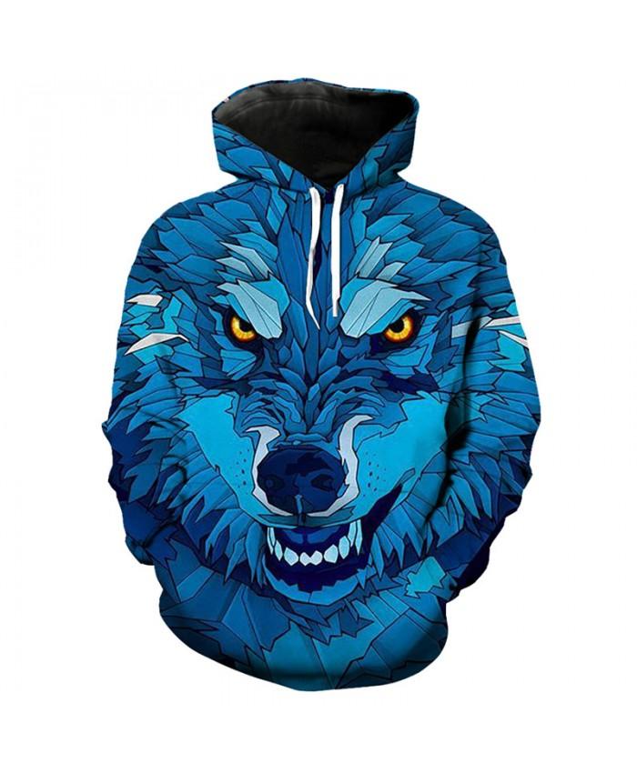 Fashion wolf print 3D blue hooded sweatshirt hip hop pullover streetwear Men Women Casual Pullover Sportswear