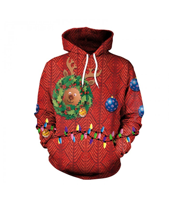 Fawn and colored light bulb Christmas Sweater Unisex Men Women Vacation Santa Elf Pullover Funny Sweaters Tops Autumn Winter Clothing