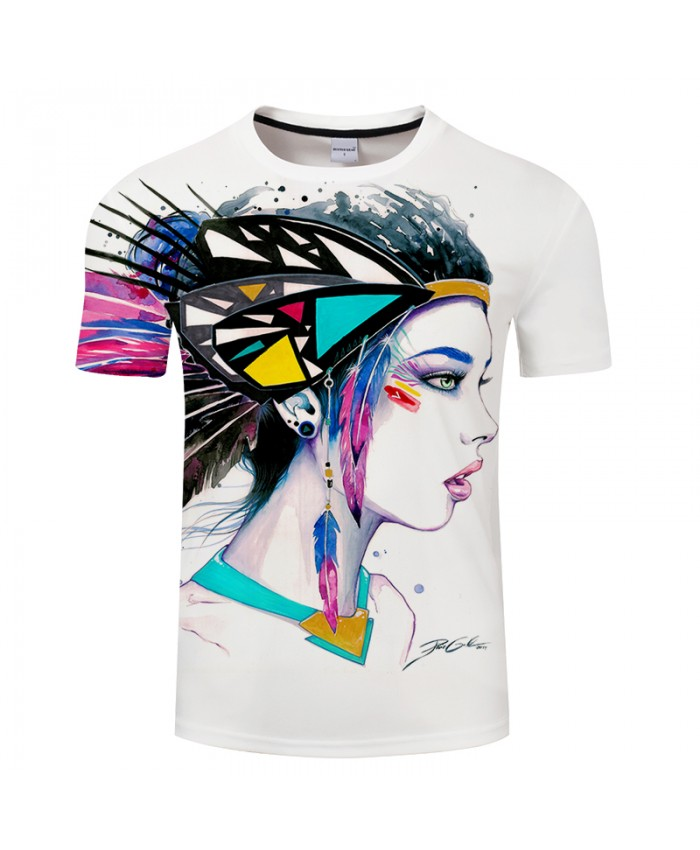 Feathers by Pixie cold Art T-shirts 3D India Girl T shirts Men T-shirts 3D Camiseta Short Sleeve Tshirts Male Tops Tees Brand