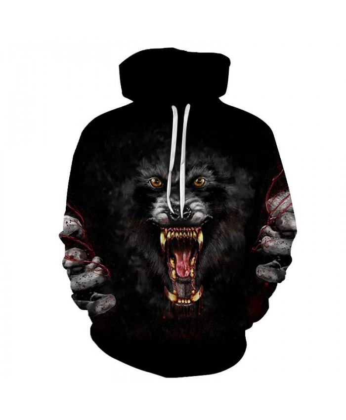 Ferocious Animal 3D Printed Men Pullover Sweatshirt Clothing for Men Custom Pullover Hoodie Casual Hoodies Men