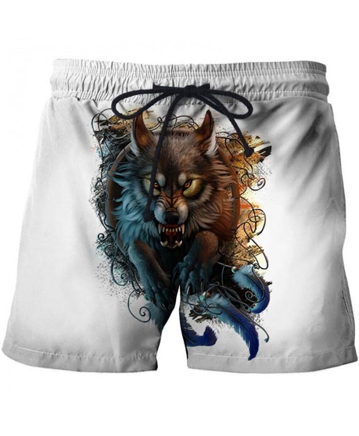 Fierce Wolf 3D Print By Khalia Artist Men Beach Short Casual Cool Men Stone Print Beach Shorts Summer Male Beachwear