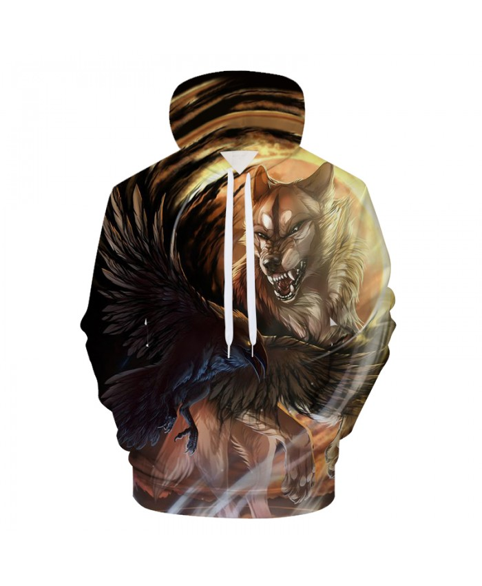 Fierce Wolf Eagle Supremacy 3D Hoodies Sweatshirts Men Women Animal Art Printing Hoodie Casual Tracksuits Brand Hoodie Coats