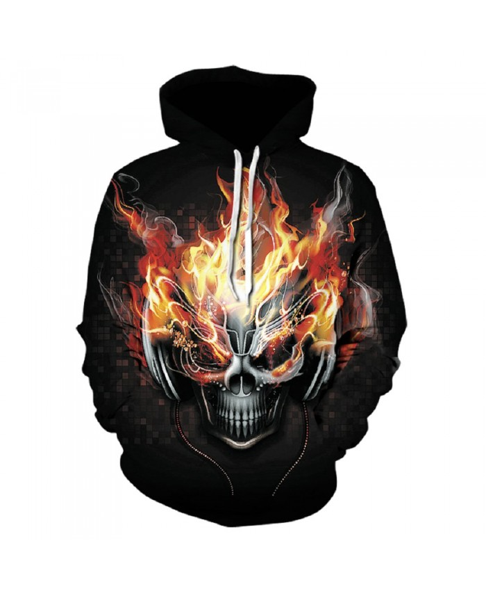 Fire Burning Skull Hoodie Hoodies Men Women 2021 New Fashion Spring Autumn Pullover Sweatshirts Sweat Homme 3D Tracksuit