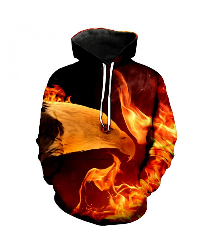 Fire Eagle Print Neutral Hoodies Sweat Casual Pullovers Casual Hoodie Autumn Tracksuit Pullover Hooded Sweatshirt