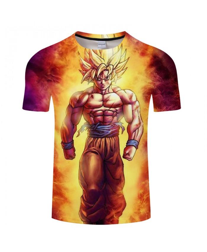 Fire Goku 3D Print T shirt Men Dragon Ball Summer Anime Short Sleeve Boy Tops&Tee Tshirts Camiseta Muscle Drop Ship