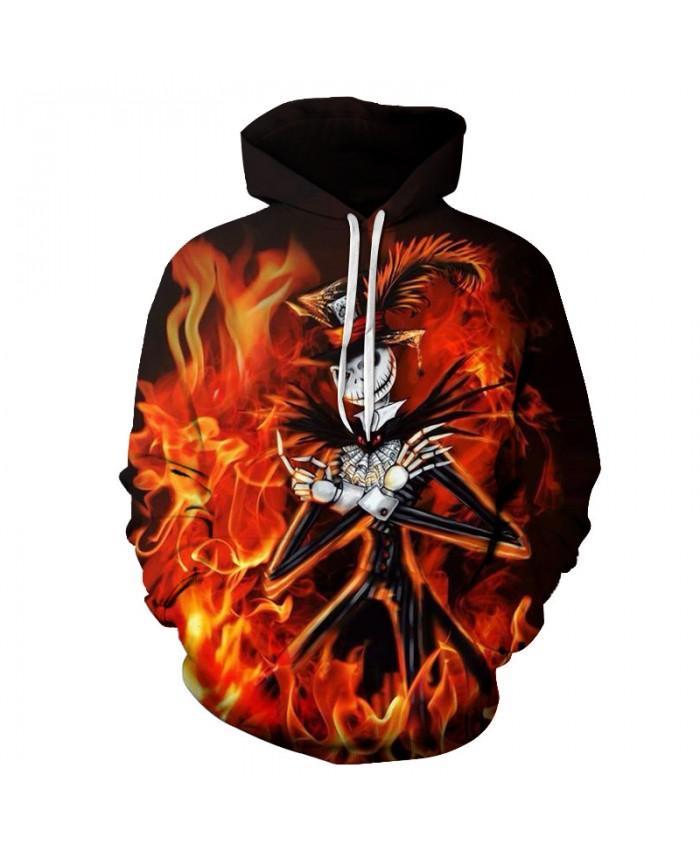 Fire Skull 3D Print Hoodies Men Hoody Harajuku Hoodie Streatwear Sweatshirt Tracksuit Pullover Coat Hip Hop Dropship