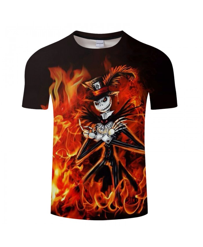 Fire Skull 3D Print T shirt Men T-shirt Brand Tops Tee Anime Streetwear Summer Short Sleeve tshirt O-neck Drop Ship