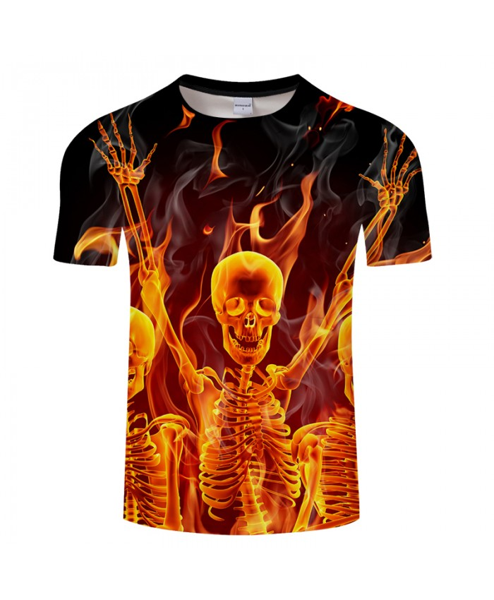 Fire&Skull 3D Print t shirt Men Women tshirt Summer Casual Short Sleeve Hip Hop Tops&Tees Camiseta Groot Drop Ship