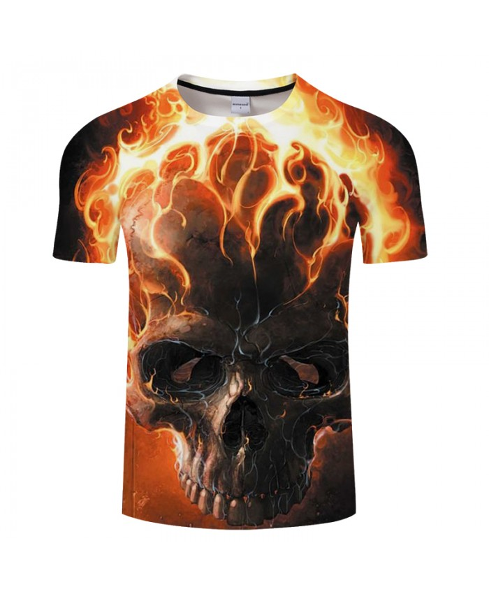 Fire Skull 3D Print t shirt Men Women tshirt Summer Casual Short Sleeve O-neck Tops-Tees Red Streetwear Drop Ship
