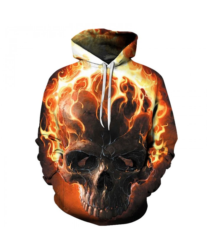 Fire Skull Hoodies Men Women Fashion Sweatshirts Hooded Tracksuits Drop Ship Brand Quality Pullover Unisex Casual Jackets Coats
