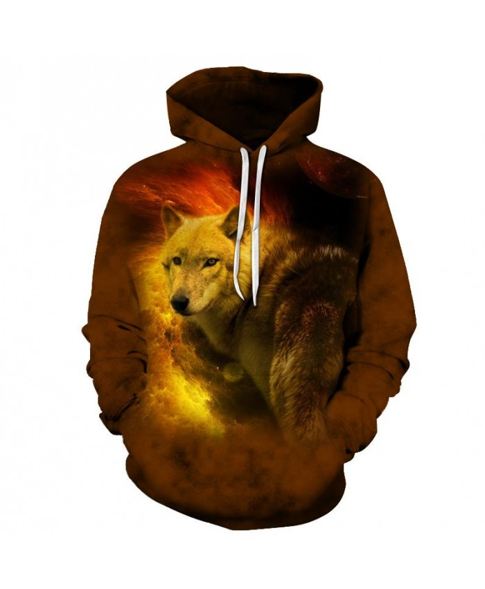Fire Wolf Sweatshirts Men Hoodies Fashion Hoody Animal Tracksuits 3D Printing Pullover Autumn Coat Pocket Drop Ship