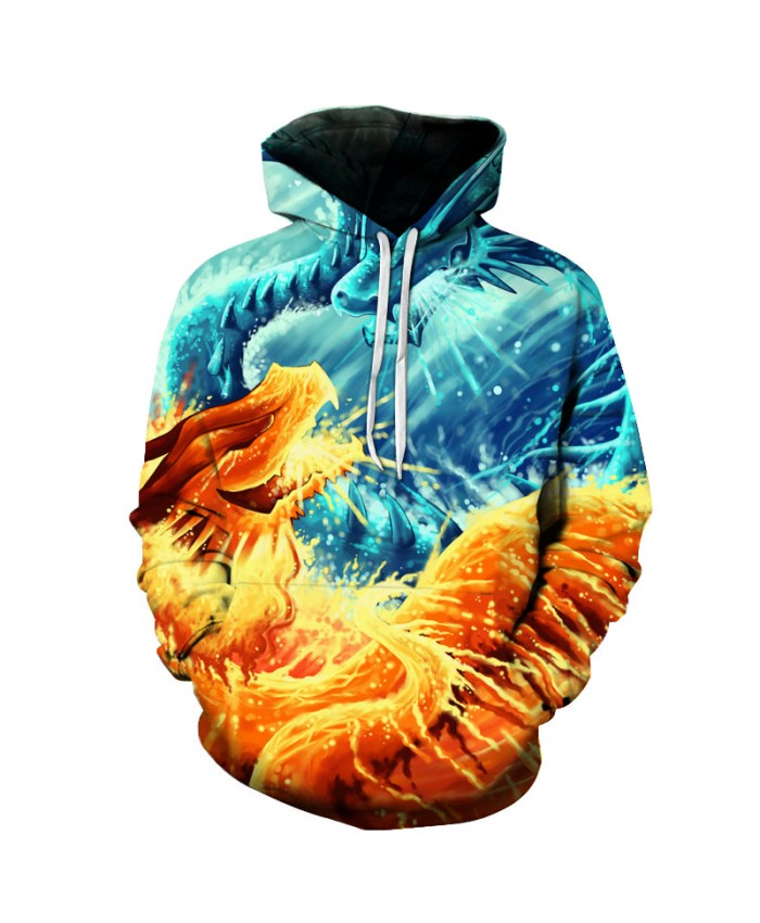 Fire and Ice Dragon Printed 3D Hoodies Sweatshirts Men Women Plus 6XL Pullover Skateboard Hip Hop Hooded Jackets Male Tracksuits