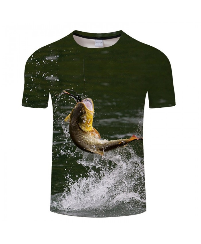 Fish Bite The Rope 3D Print T Shirt Men tshirt Summer Casual Slim 2021 New Short Sleeve O-neck Tops&Tee Drop Ship